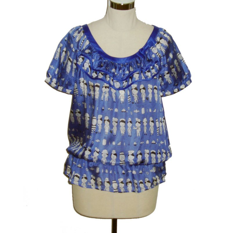 pure silk blouse with bow short sleeve  cartoon pattern M  blue