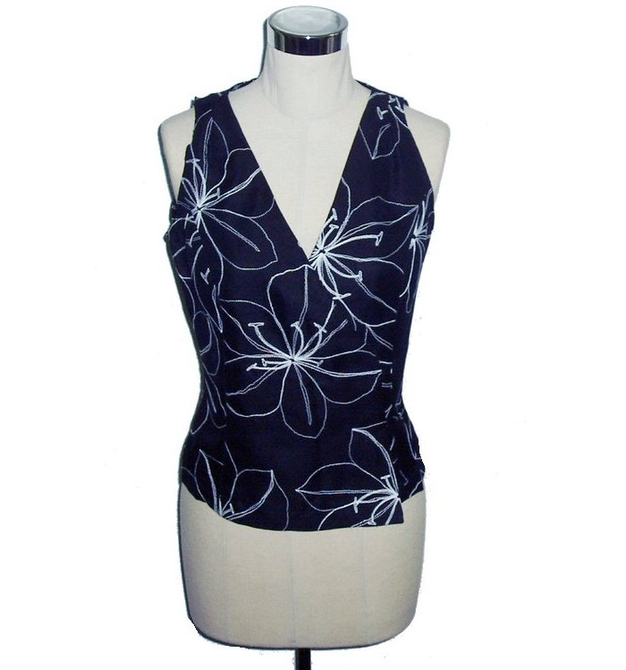 embroidery silk vests for women black S