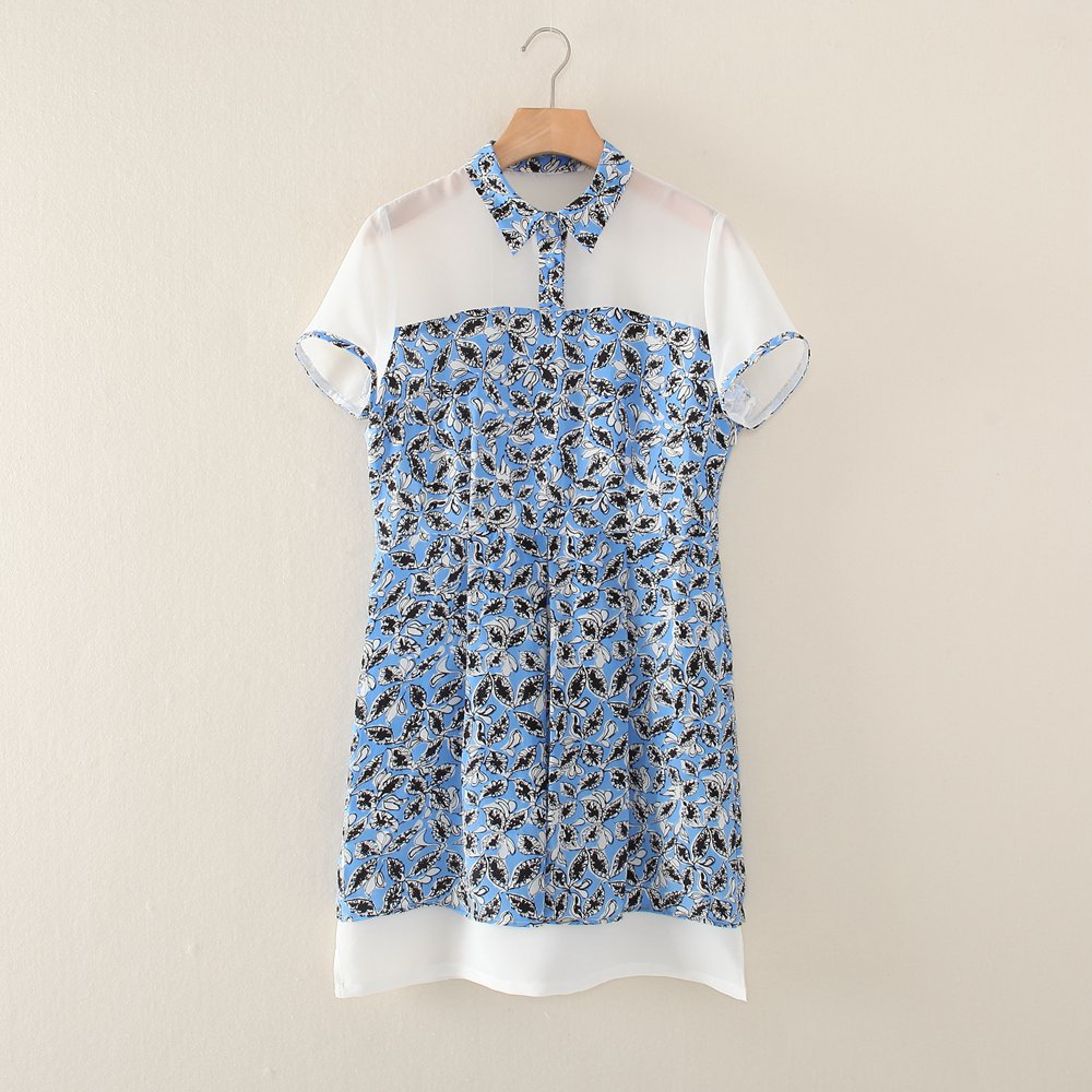 Silk patchwork dress short sleeve  blue pattern petite size XS