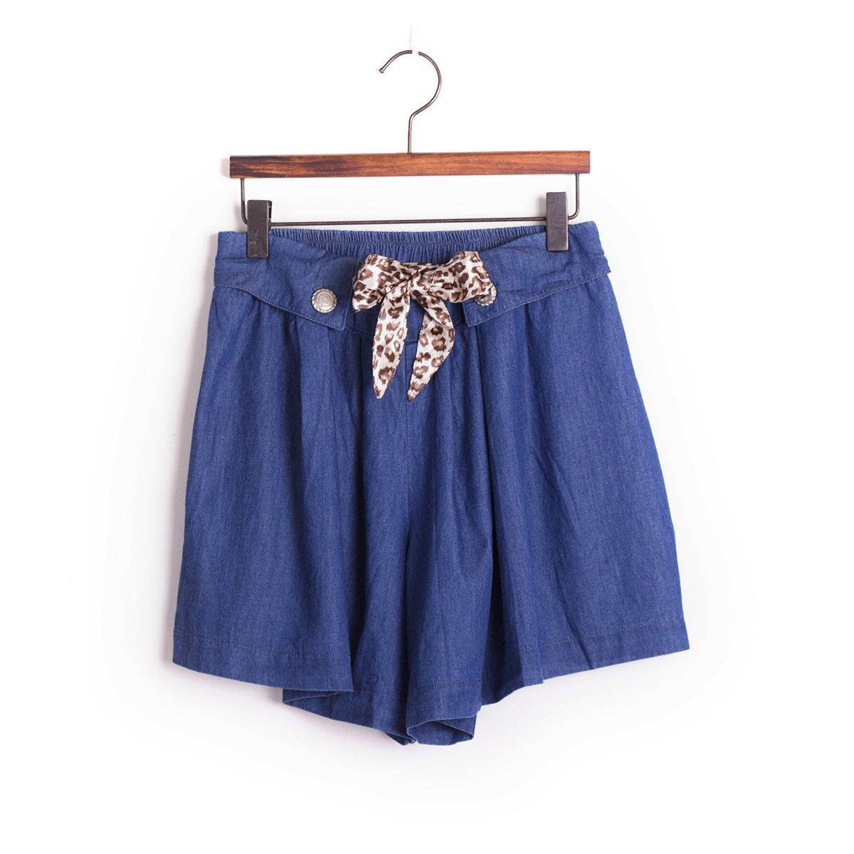 Cotton culotte shorts blue removable leopard belt S