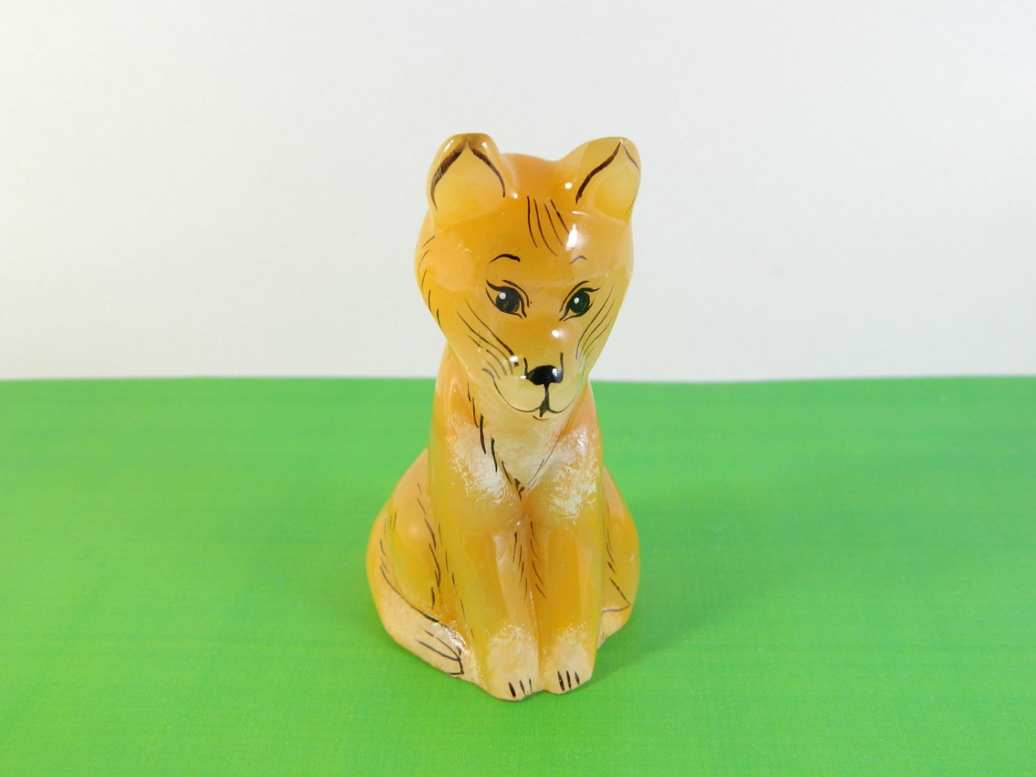 Selenite stone Fox figurine