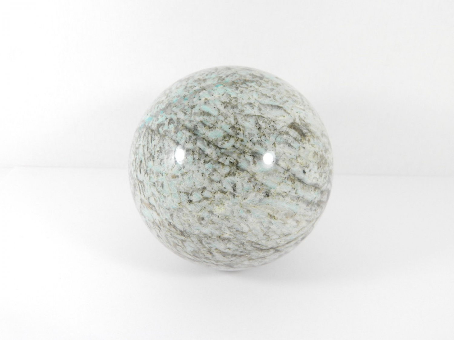 Pegmatite with Amazonite stone sphere (90 mm) from Russia