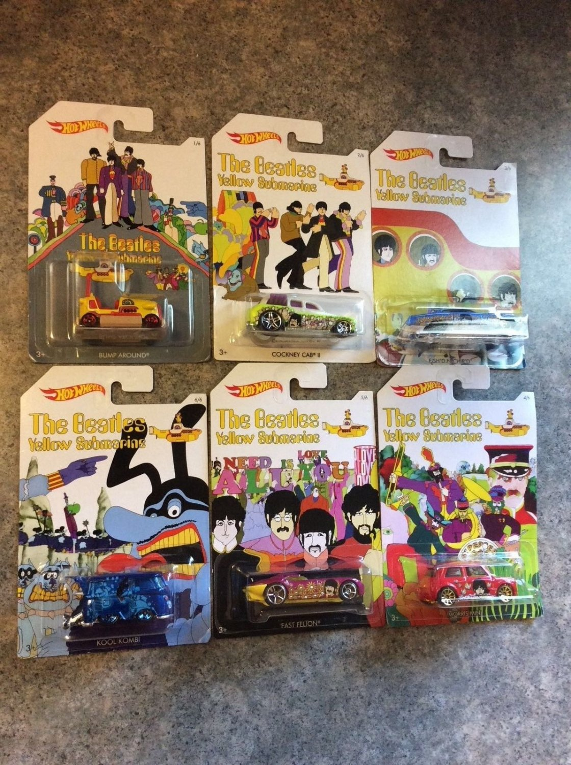 The Beatles - Yellow Submarine - Full Complete Set of 6 - 2016 Hot Wheels Cars