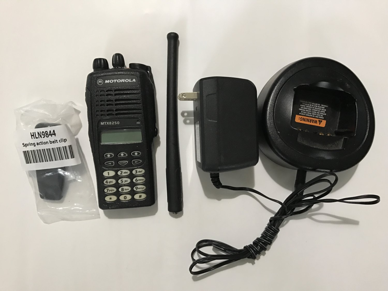 Motorola MTX8250 800MHz PrIvacy + Charger  + Antenna + New Belt Clip (No Battery)