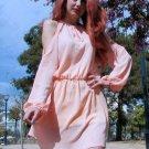 Endearing Solid Color Shoulder Hollow Out Back Slit Dress