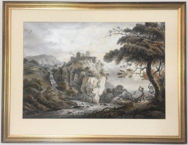 Castle in a Landscape Antique Watercolour Painting Paul Sandby R.A. (1731-1809)
