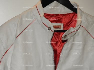 VINTAGE RARE PRADA LEATHER JACKET L WHITE