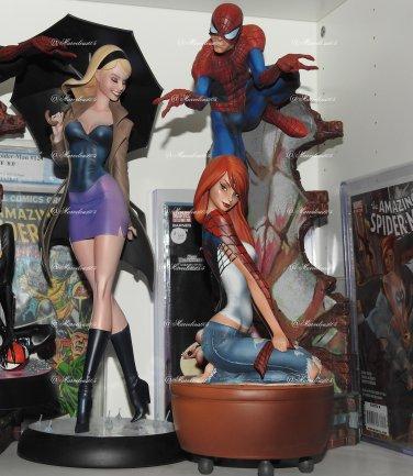 SOLD Sideshow Spiderman Comiquette Statues Set Of 3 J. Scott Campbell . No Box!