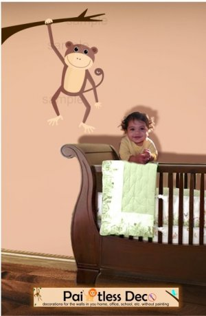Monkey Wall Decal (full color) LARGE -ec