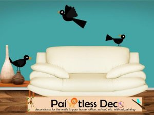 Reusable 3 Black Birds Wall Decal -ec
