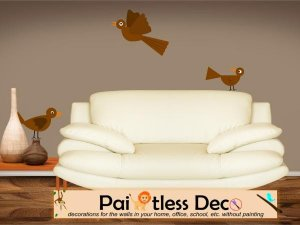 Reusable 3 Brown Birds Wall Decal -ec