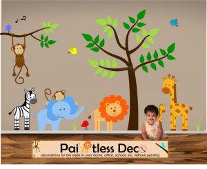 Kids Jungle Land Wall Decal Sticker Set s1-ec