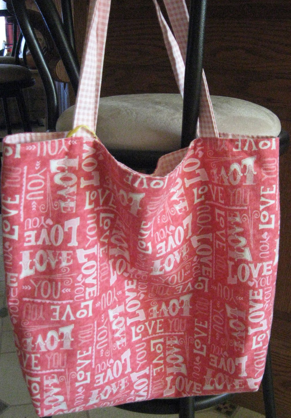 """Tote Bag - Shopping -Pink & White """"Love"""" - Reversible-Red tones"""