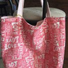 "Tote Bag - Shopping -Pink & White ""Love"" - Reversible-Red tones"