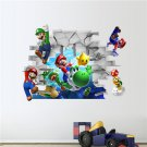 Super Mario and Friends Breaking through the wall | 24x36 in 3D Removable Wall Decal/Sticker