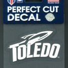 Toledo Rockets White on Clear Vinyl Decal