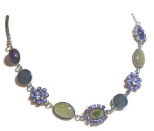 Fashion Necklace Purple Crystals Flower w Sandstone Blue Agate  19""