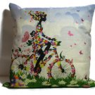 "Girl on Bike Color 18"" Square Pillow Durable Cotton Linen Includes Cushion insid"