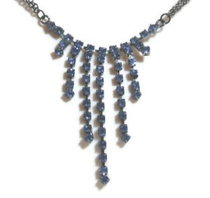 Fashion Necklace Blue Cascade Crystals Lariat Elegance Occasion Wedding Somethin