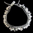"Fashion Necklace Charms Galore! 18"" Triple Strand 2 Chain 1 Clear Bead Many Chrm"