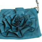 "Perfect size Cute Cross-body Purse Clutch Green Teal color Flower 7"" Handmade sm"