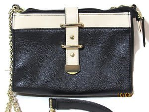 Cross-body Purse Clutch Black and Tan wth Gold tone chain strap magnetic clasp