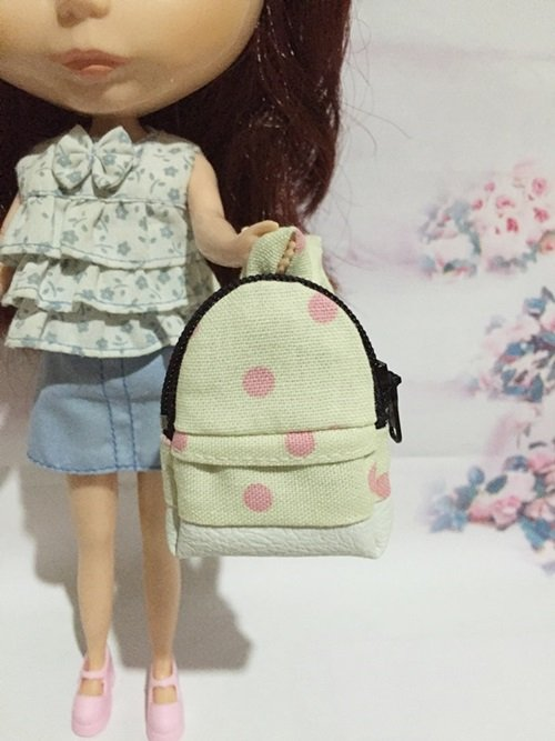 "Yellow With Pink Polka Dot School Bag for 12"" Doll /Blythe/Barbie/Pullip/Jenny/Licca Doll"