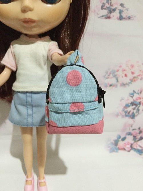 "Blue With Pink Big Polka Dot School Bag for 12"" Doll /Blythe/Barbie Doll"