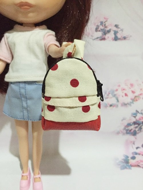 """Cream With Red Polka Dot School Bag for 12"""" Doll /Blythe/Barbie/Pullip Doll"""