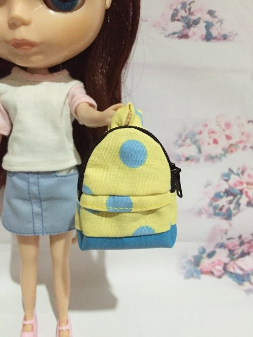"""Yellow With Blue Big Polka Dot Backpack for 12"""" Doll /Blythe/Barbie Doll"""