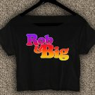 Rob & Big star Christopher Boykin T-shirt Rob & Big Crop Top Navy Big Black UFC Logo Crop Tee RB#03