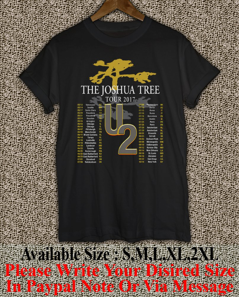 U2 The Joshua Tree Tour 2017 Black T-Shirt Men Music Concert Tee Size S to 2X TJT03