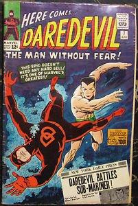 DAREDEVIL# 7 Apr 1965 1st Red Costume Sub-Mariner Wood Art Silver KEY: 7.0 FN-VF
