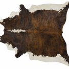 Brindle White Belly and Backbone Brazilian Cowhide Cow Hide Area Rugs - Size XXL