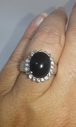 Black Onyx Sterling Silver Ring - Size 7