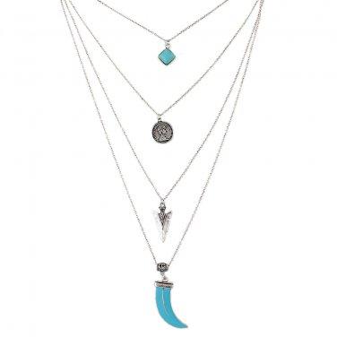 Multi-layered Boho Necklace -Silver