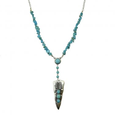 Boho Turquoise Arrowhead Necklace - Silver