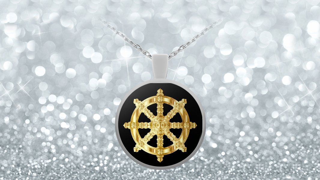 Golden Dharma Wheel - Necklace