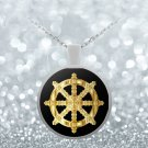 Golden Dharma Wheel - Necklace