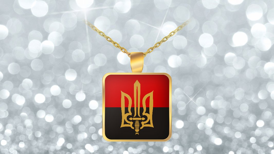 Stylized Tryzub And Flag v2 - Gold Plated Necklace - Patriotic Ukrainian Trident