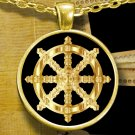 Golden Dharma Wheel - Gold Plated Necklace