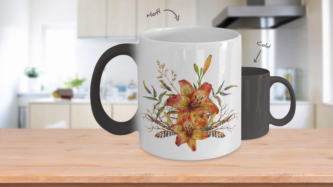 Tiger Lily Bouquet v2 - Color Changing Mug