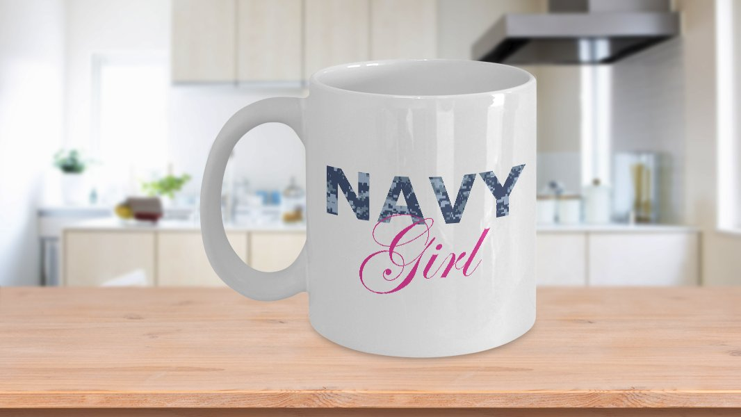 Navy Girl - 11oz Mug - White Ceramic Novelty Coffee / Tea Cup / Mug