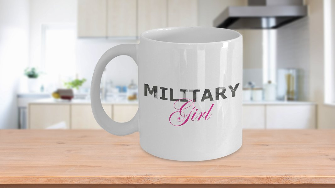 Military Girl - 11oz Mug - White Ceramic Novelty Coffee / Tea Cup / Mug