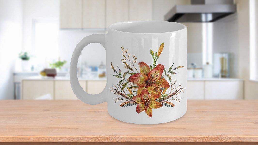 Tiger Lily Bouquet v2 - 11oz Mug - White Ceramic Novelty Coffee / Tea Cup / Mug