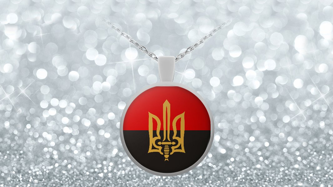 Stylized Tryzub And Red-Black Flag - Necklace - Patriotic Ukrainian Trident