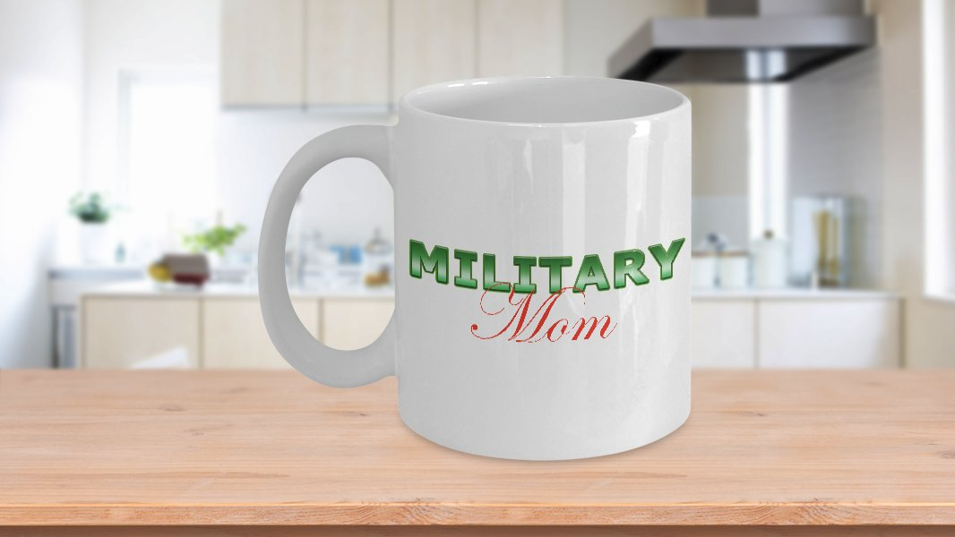 Military Mom - 11oz Mug v2 - White Ceramic Novelty Coffee / Tea Cup / Mug
