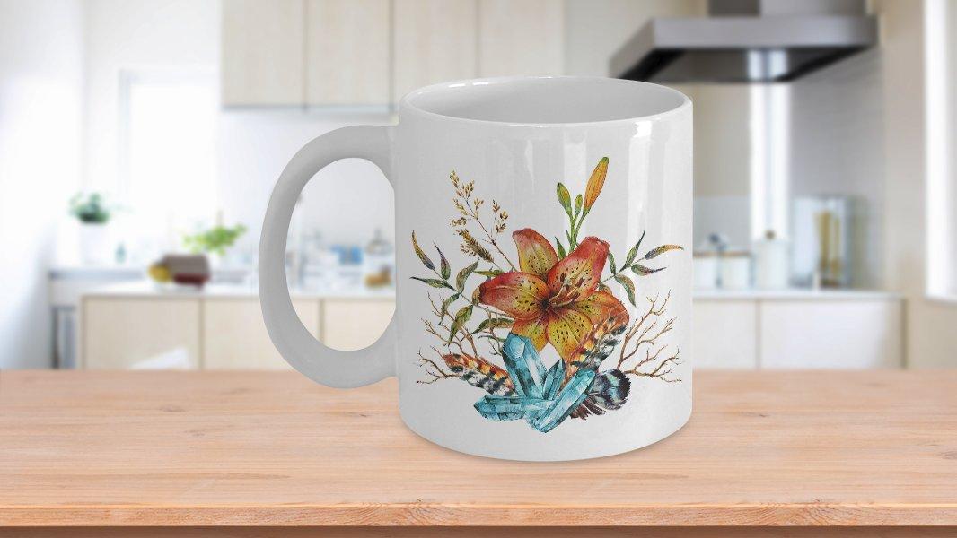 Tiger Lily Bouquet - 11oz Mug - White Ceramic Novelty Coffee / Tea Cup / Mug