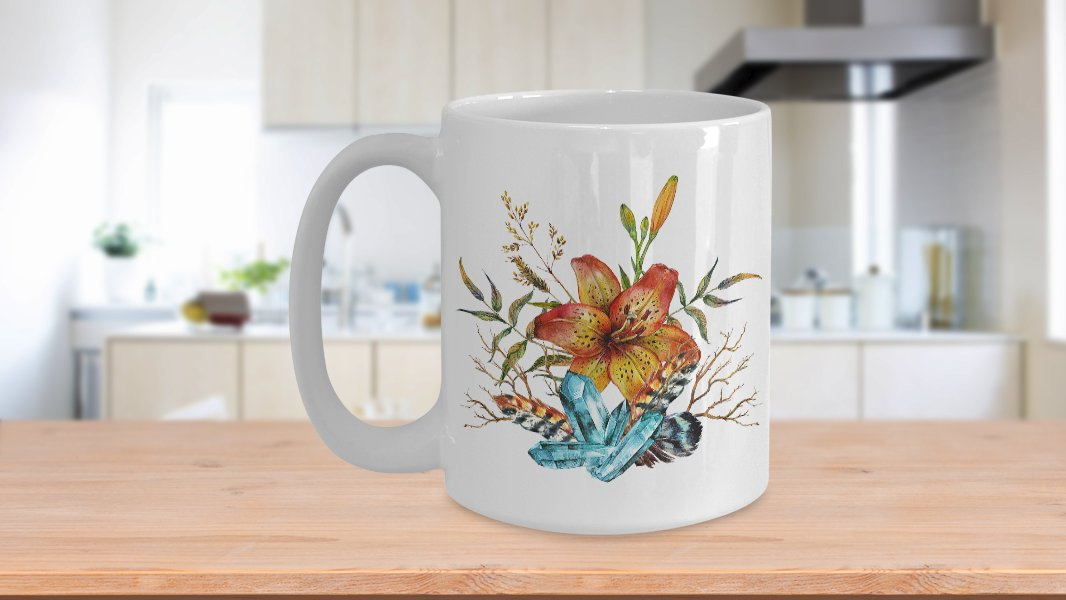 Tiger Lily Bouquet - 15oz Mug - White Ceramic Novelty Coffee / Tea Cup / Mug