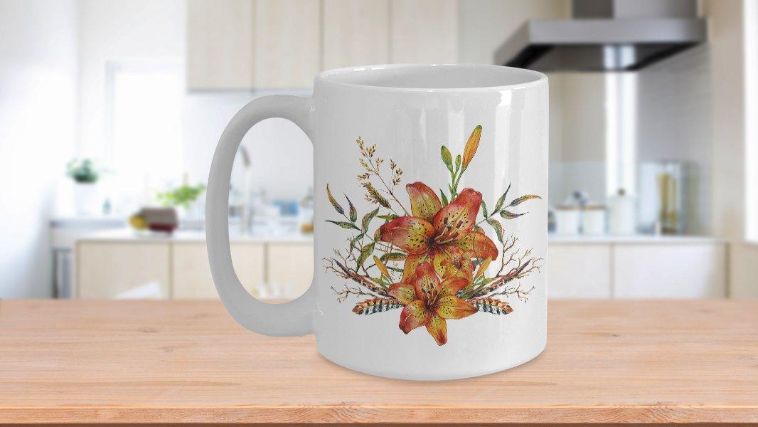 Tiger Lily Bouquet v2 - 15oz Mug - White Ceramic Novelty Coffee / Tea Cup / Mug